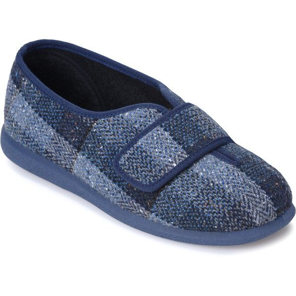 Cosyfeet Ronnie Extra Roomy Men's Slipper Navy Plaid