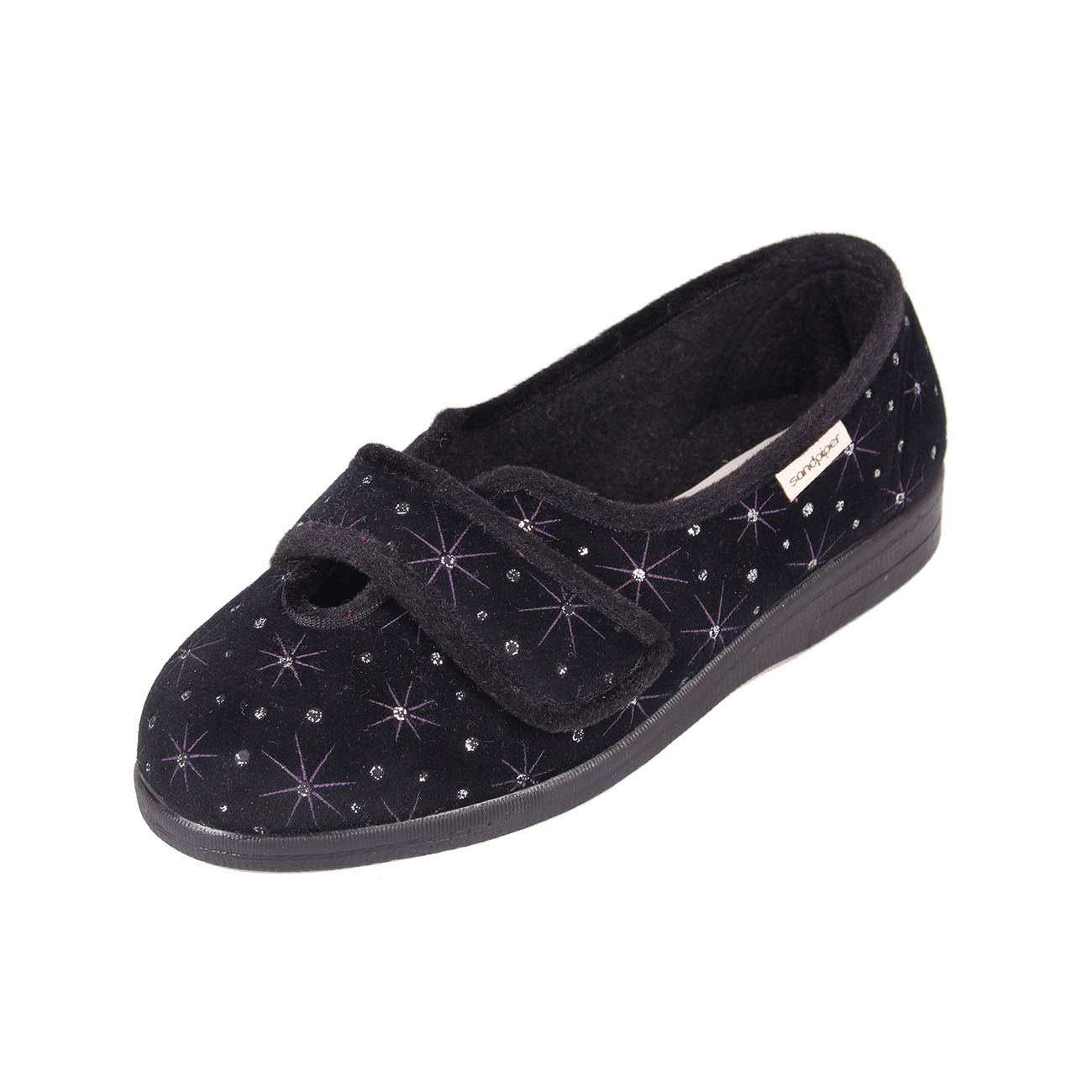 Sadie Ladies Black Starburst Slipper