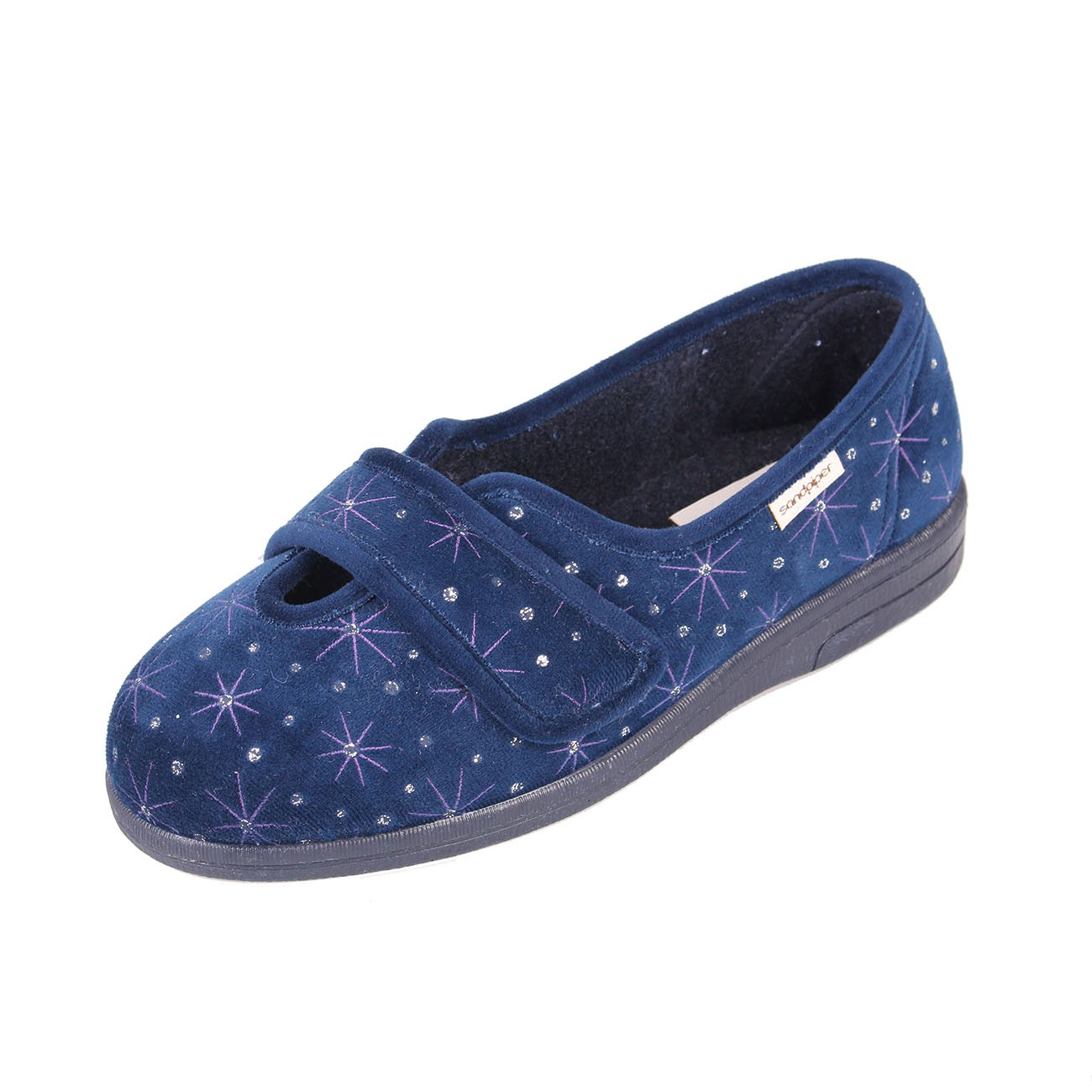 Sandpiper Sadie Ladies Extra Wide Navy Slipper